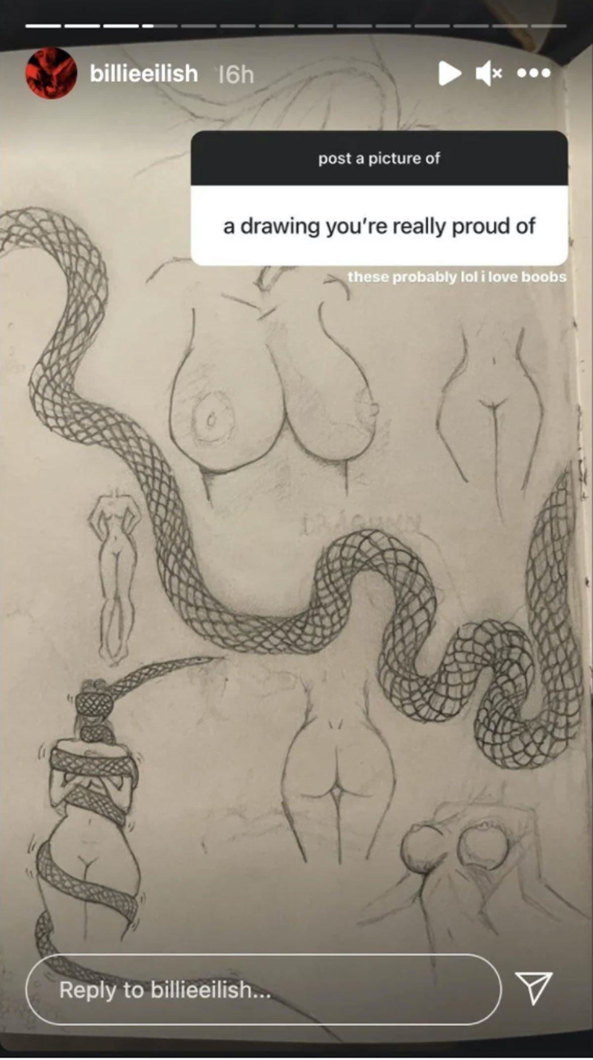 Billie Eilish boob drawings