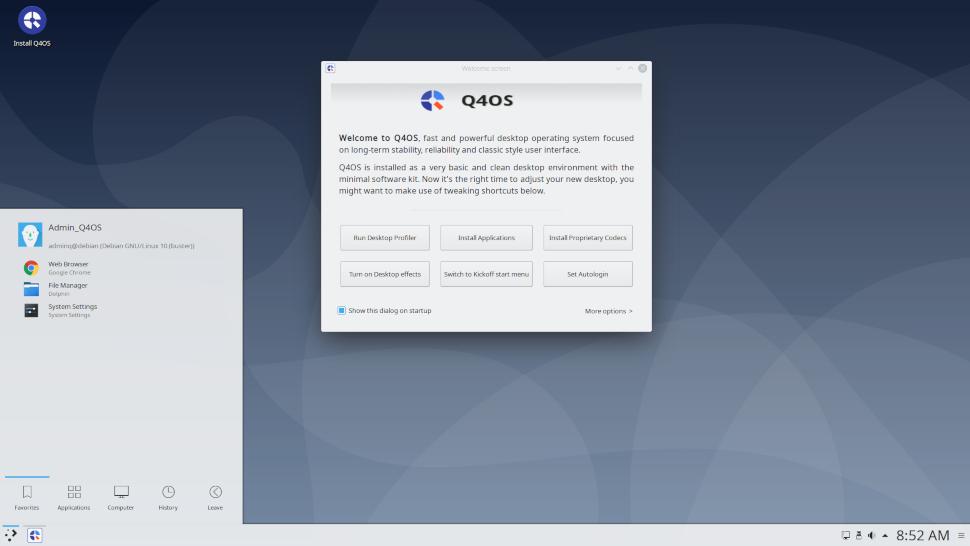 screenshot of the Q4OS desktop