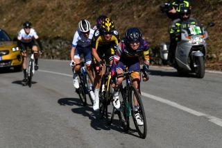 CITTIGLIO ITALY MARCH 21 Katarzyna Niewiadoma of Poland and Team Canyon SRAM Racing Marianne Vos of Netherlands and Team Jumbo Visma Cecilie Uttrup Ludwig of Denmark and Team FDJ Nouvelle Aquitaine Futuroscope Soraya Paladin of Italy and Team Liv Racing Margarita Victoria Garcia Caellas of Spain and Team Ale Btc Ljubljana during the 45th Trofeo Alfredo BindaComune di Cittiglio 2021 Womens Elite a 1418km stage from Cocquio Trevisago to Cittiglio 257m Breakaway TrBinda UCIWWT on March 21 2021 in Cittiglio Italy Photo by Tim de WaeleGetty Images