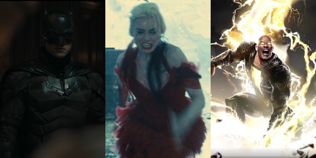 Robert Pattinson in The Batman, Margot Robbie in The Suicide Squad, and Dwayne Johnson as Black Adam, side by side.
