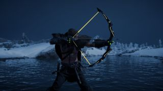 An image of Eivor from Assassin's Creed Valhalla holding the Nodens Arc magic bow.