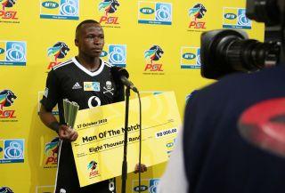 Man of the match Siphesihle Ndlovu of Orlando Pirates