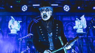 A photograph of King Diamond on stage in San Antonio in 2015