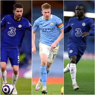 Jorginho, Kevin De Bruyne and N'Golo Kante have been shortlisted for UEFA Men's Player of the Year
