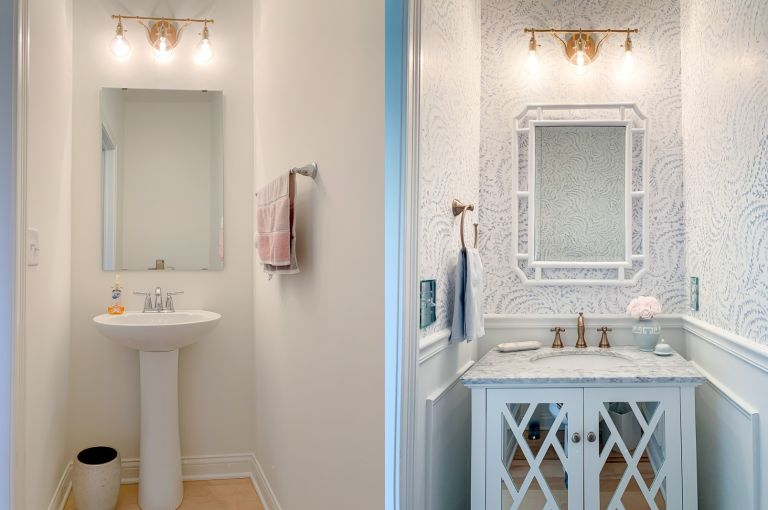 Before and After of DIY bathroom wainscoting