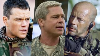 Brad Pitt in Green Zone, Brad Pitt in War Machine and Bruce Willis in Tears of the Sun, three of the best Netflix war movies