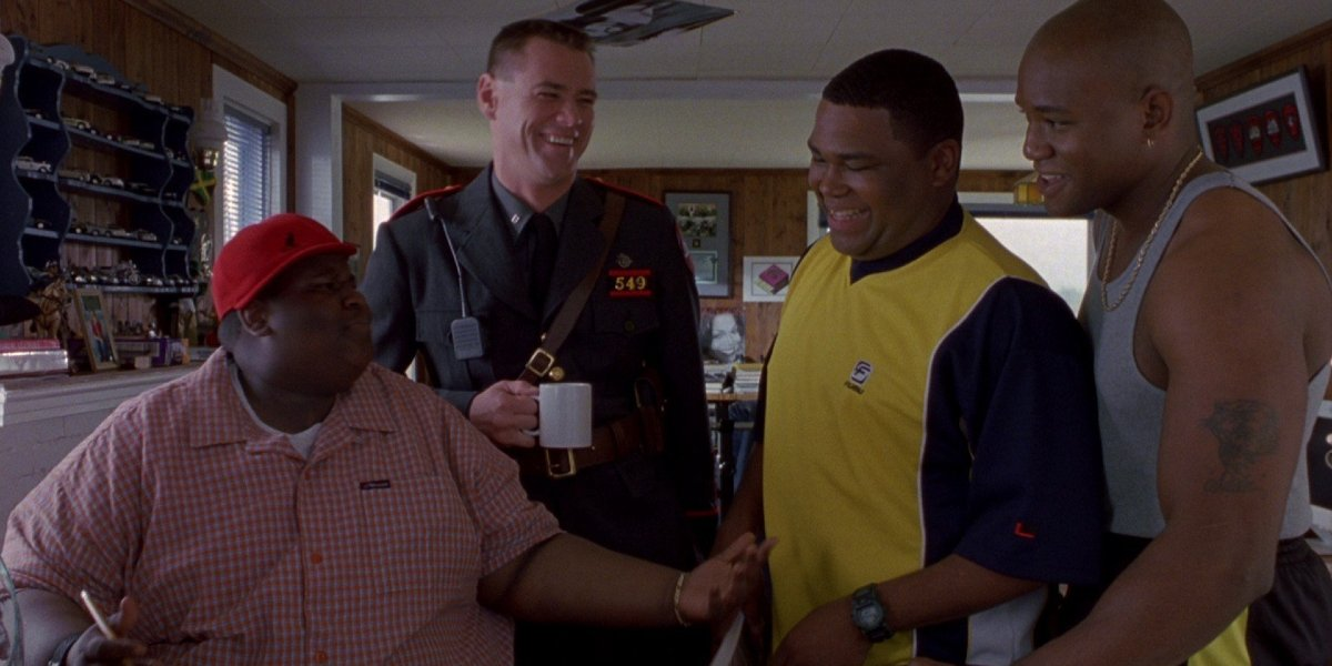Jerod Mixon, Jim Carrey, Anthony Anderson, and Mongo Brownlee in Me, Myself& Irene