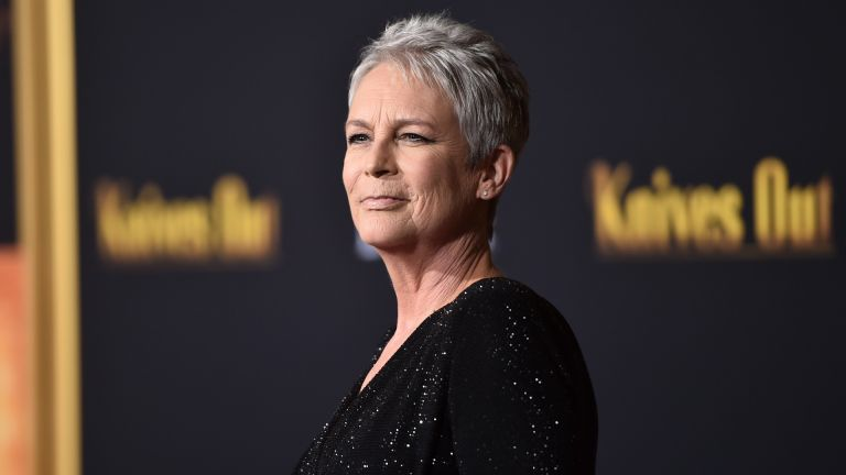 "Jamie Lee Curtis attends the premiere of Lionsgate's ""Knives Out"" at Regency Village Theatre on November 14, 2019"