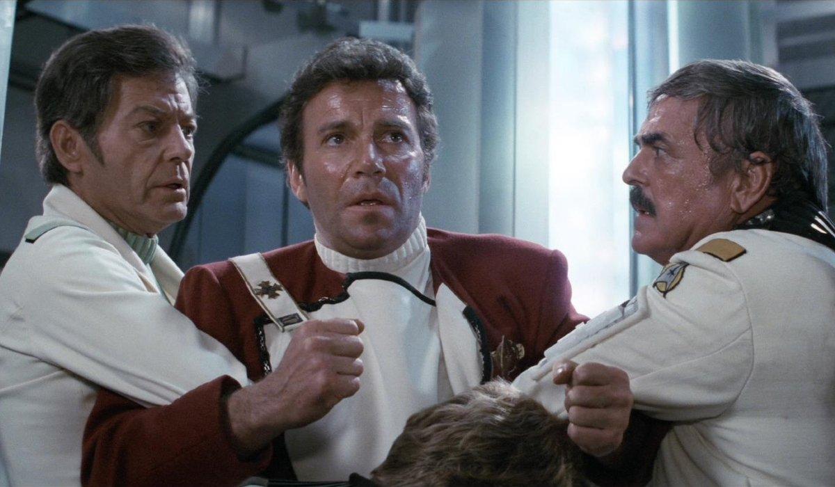 Star Trek II: The Wrath of Khan Bones and Scotty hold Kirk back
