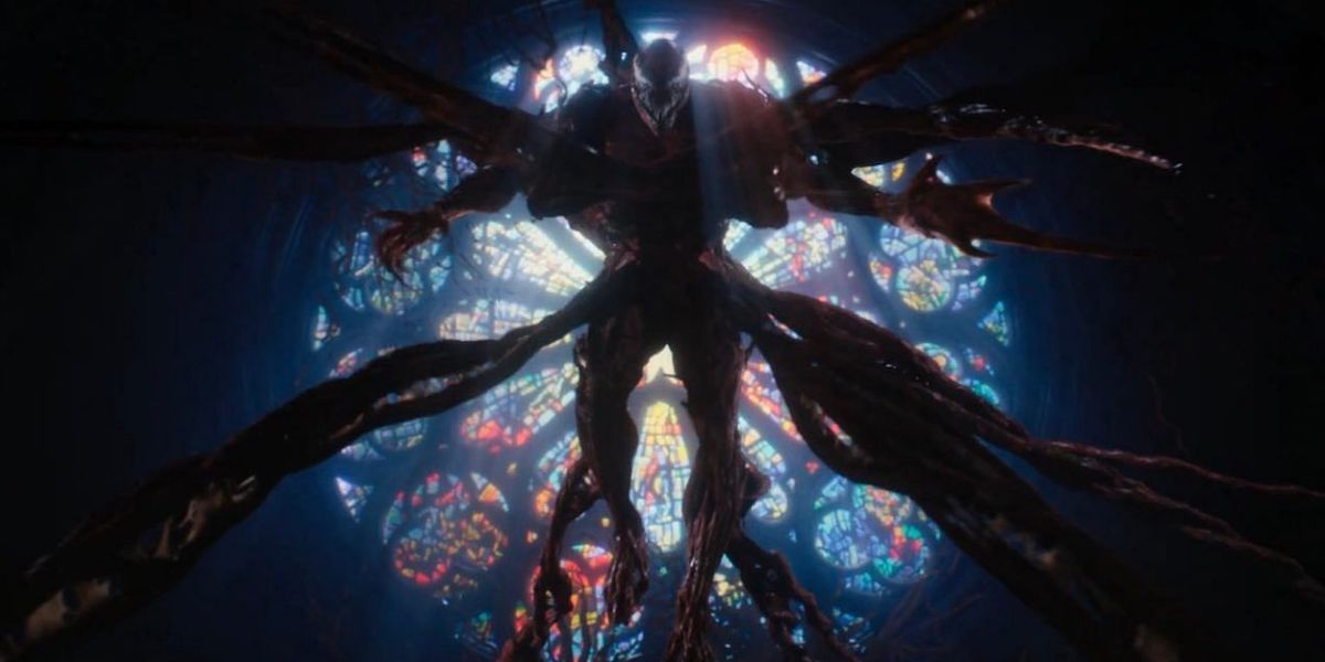 Carnage by stain glass window in Venom: Let There Be Carnage