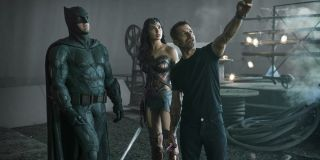 Zack Snyder directing Ben Affleck and Gal Gadot on the set of Justice League (2017)