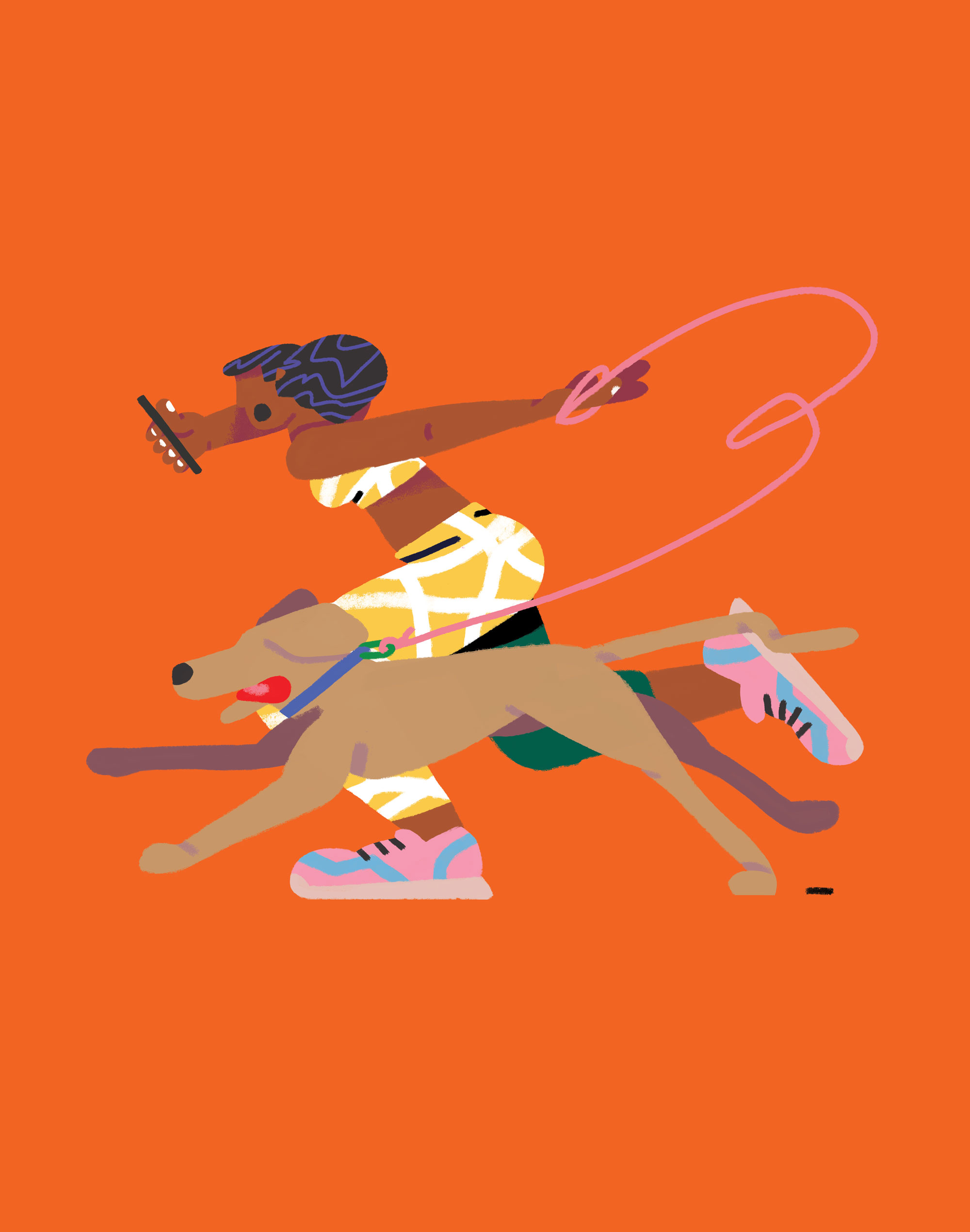 Illustration of woman running with dog
