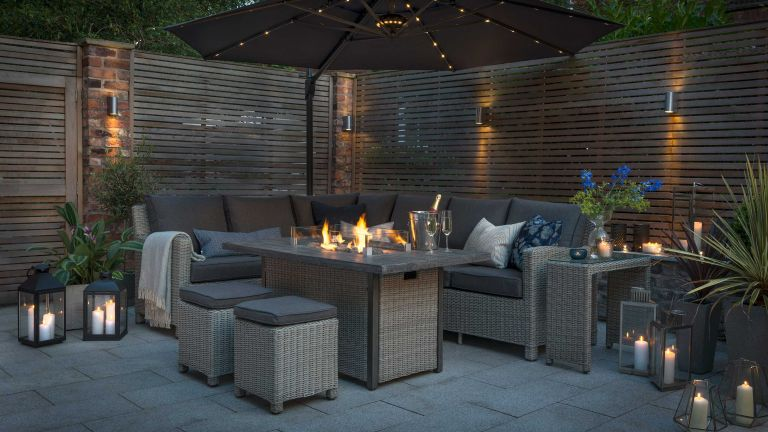 patio heater ideas: kettler fire pit table on patio