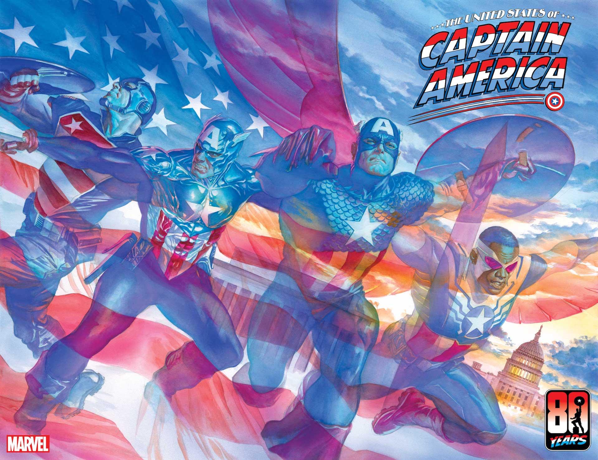 Portada de los Estados Unidos del Capitán América # 1 por Alex Ross