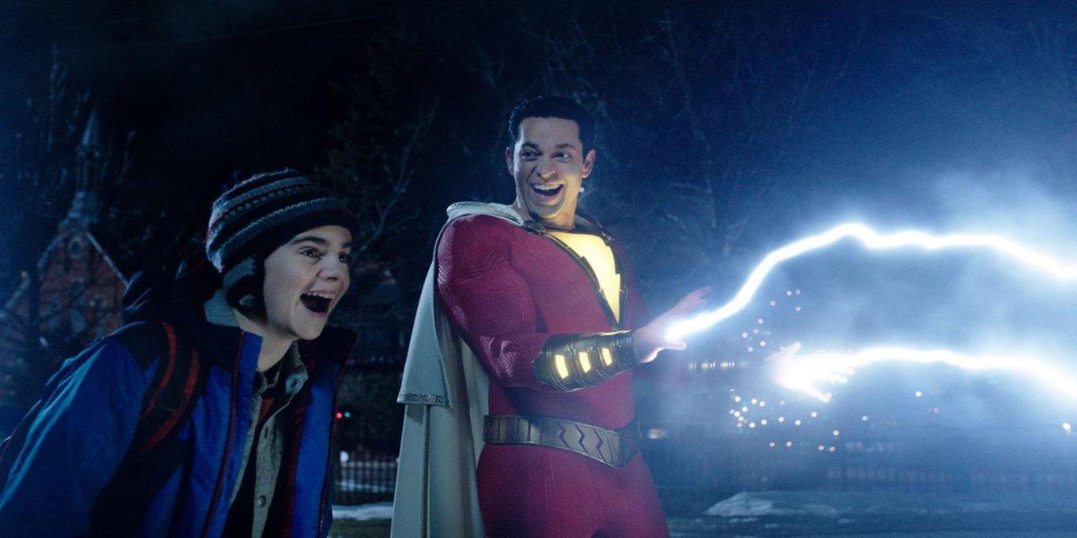 Shazam casting lightning with Freddy Freeman