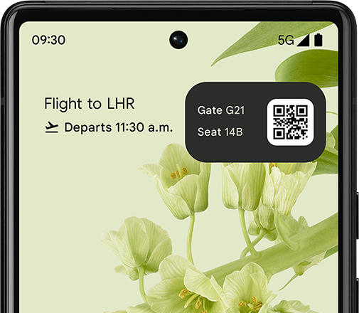 A render of the Pixel 6's display, showing a widget automatically displaying a ticket for an upcoming flight