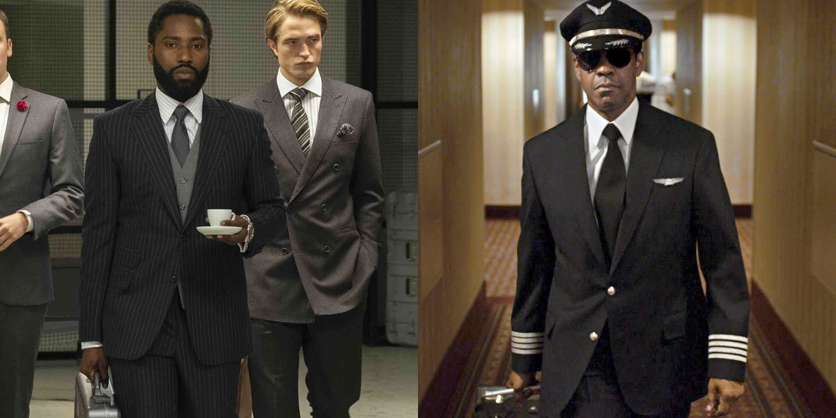 John David Washington and Denzel Washington with briefcases