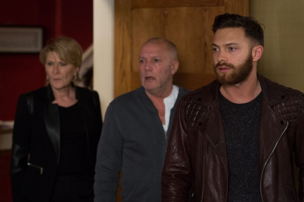 Matt with mother Shirley (Linda Henry) and father Buster (Karl Howman) (Jack Barnes/BBC)