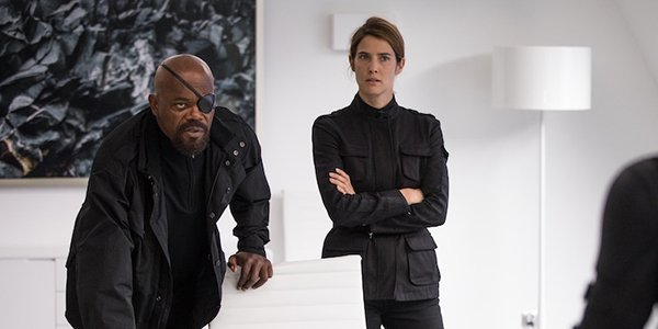 Nick Fury and Maria Hill giving Spider-Man a mission
