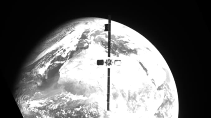 This view from Northrop Grumman's MEV-2 spacecraft shows the IS-10-02 satellite as it approaches to dock.