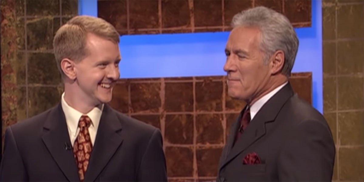 Ken Jennings talking to Alex Trebek after losing on Jeopardy.