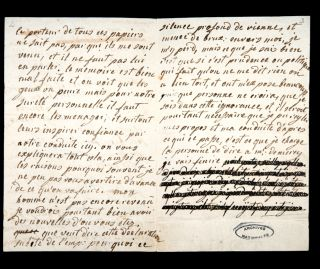 A photo of a partially-redacted page of a letter Marie Antoinette wrote to Fersen on January 4, 1792.