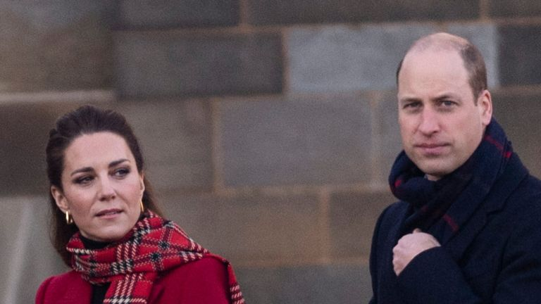 CARDIFF, WALES - DECEMBER 08: Prince William, Duke of Cambridge and Catherine, Duchess of Cambridge visit Cardiff Castle as part of their working visits across the UK ahead of the Christmas holidays on December 8, 2020 in Cardiff, United Kingdom. During the tour William and Kate will visit communities, outstanding individuals and key workers to thank them for their efforts during the coronavirus pandemic. (Photo by UK Press Pool/UK Press via Getty Images)