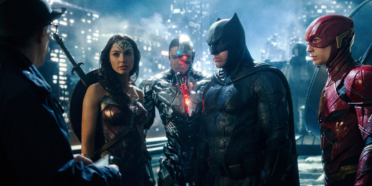J.K. Simmons, Gal Gadot, Ray Fisher, Ben Affleck, and Ezra Miller in Justice League