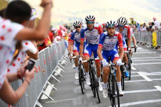 LOUDENVIELLE FRANCE SEPTEMBER 05 David Gaudu of France and Team Groupama FDJ Thibaut Pinot of France and Team Groupama FDJ Dropped from Peloton Disappointment Rudy Molard of France and Team Groupama FDJ during the 107th Tour de France 2020 Stage 8 a 141km stage from CazresSurGaronne to Loudenvielle TDF2020 LeTour on September 05 2020 in Loudenvielle France Photo by Tim de WaeleGetty Images