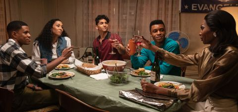 """Elektra (Dominique Jackson) bonds with Blanca (MJ Rodriguez) and her other children in """"The Trunk"""" after they come together to solve a problem from her past."""