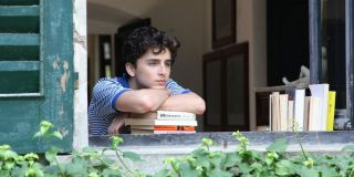 Timothee Chalamet with books in Call Me By Your Name