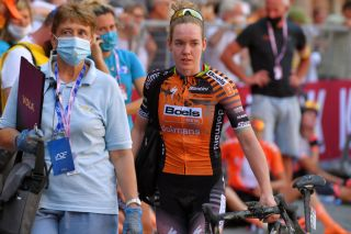 SIENA ITALY AUGUST 01 Arrival Anna Van der Breggen of The Netherlands and Boels Dolmans Cyclingteam during the Eroica 6th Strade Bianche 2020 Women Elite a 136km race from Siena to Siena Piazza del Campo StradeBianche on August 01 2020 in Siena Italy Photo by Luc ClaessenGetty Images