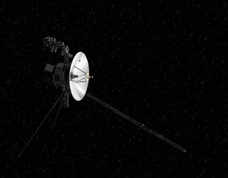 An artist's depiction of NASA's Voyager 2 probe on its long journey out of the solar system.