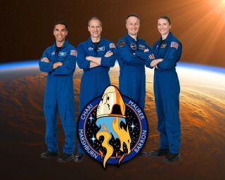 """The official crew portrait of the SpaceX Crew-3 mission, which will fly on the newly named Crew Dragon """"Endurance."""" From left: Commander Raja Chari and pilot Thomas Mashburn, both NASA astronauts; mission specialist Matthias Maurer of the European Space Agency; mission specialist Kayla Barron of NASA."""