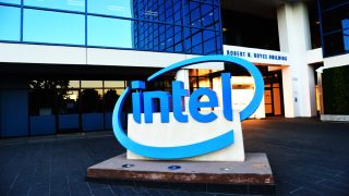 Intel logo outside office