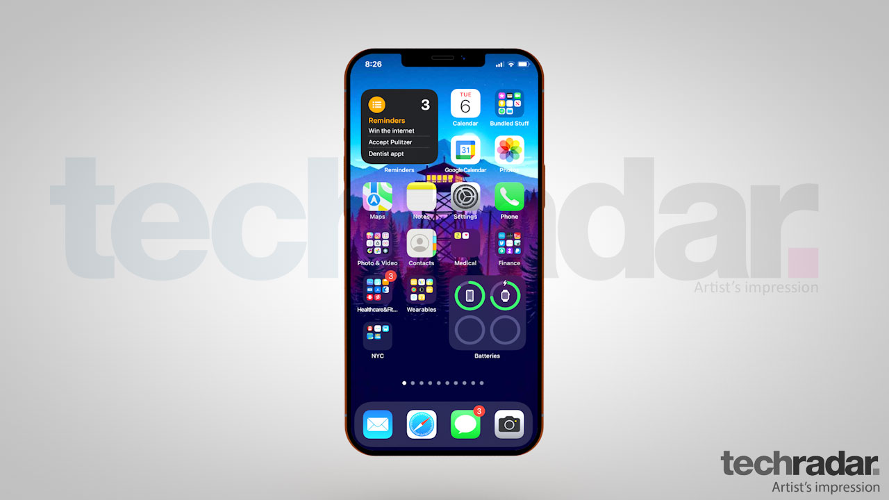 An artist's impression of the iPhone 13 with iOS 15 on show