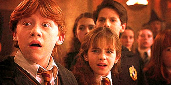 Ron and Hermione look shocked in Harry Potter