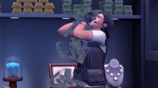 A Sim surrounded by money