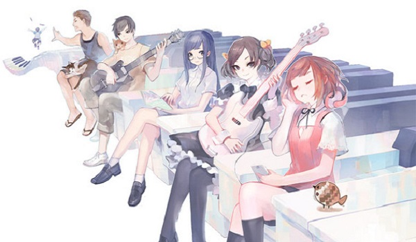 Characters singing and playing music in switch game voez