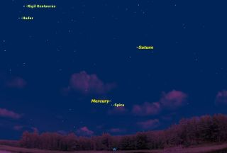 This week, observers in the Southern Hemisphere looking west just after sunset will have a fine view of the planet Mercury. This will be the view from Melbourne half an hour after sunset.