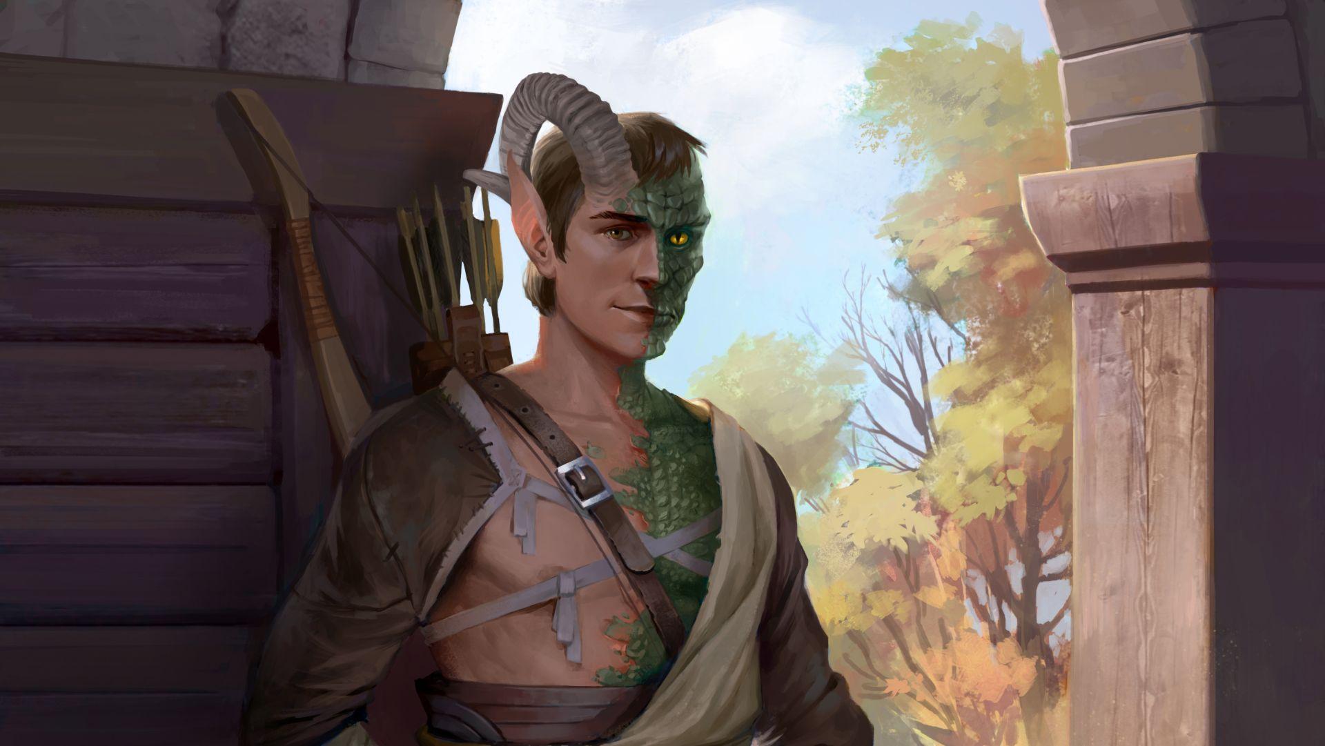 Lann, a companion who is part elf, part lizard, part goat