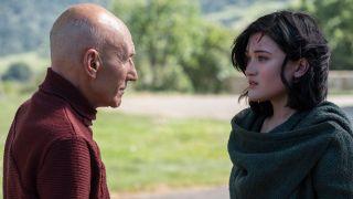 Patrick Stewart as Jean-Luc Picard and Isa Briones as Dahj in Star Trek: Picard.