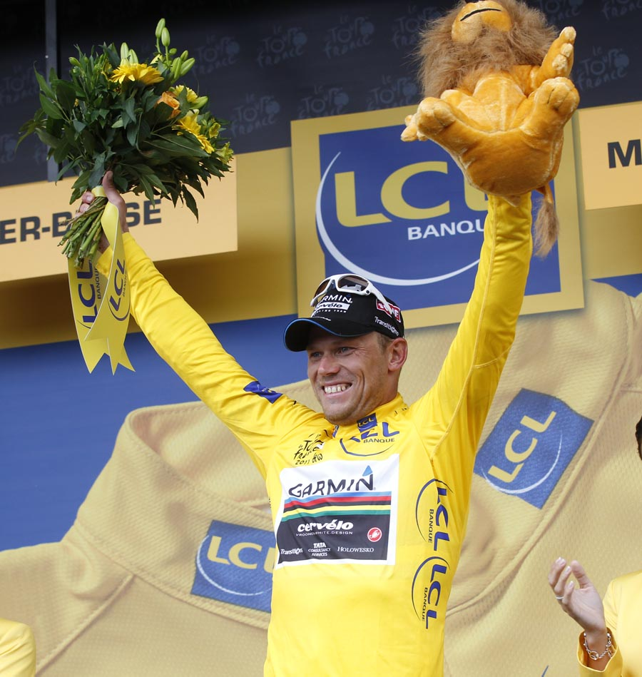 Thor Hushovd on podium, Tour de France 2011, stage eight