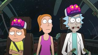 Rick, Morty and Summer flying in Rick's spaceship in Rick and Morty.