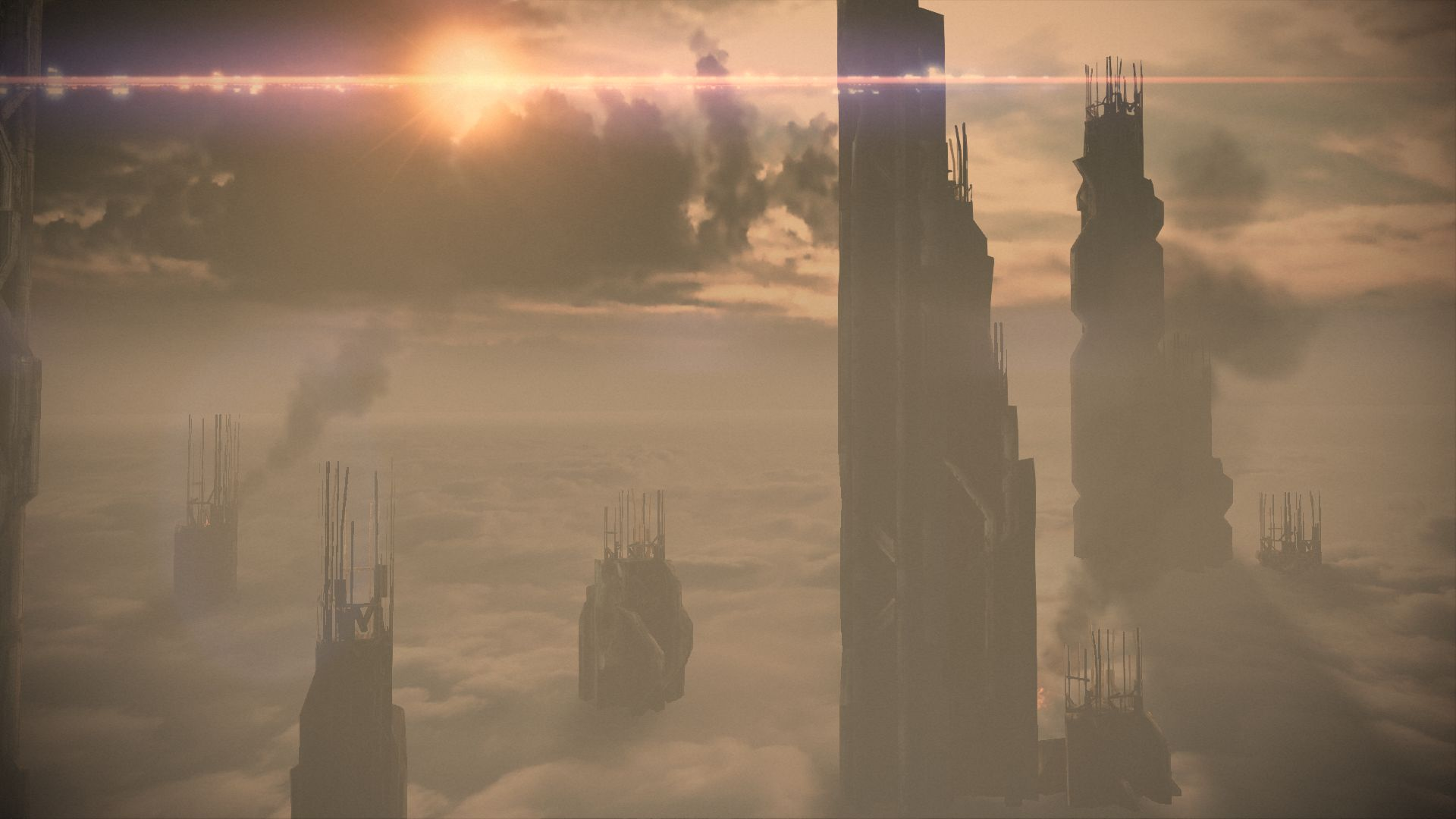 Tall buildings emerge from clouds on Feros