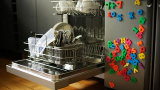 How long do dishwashers last? Image shows dishwasher with the door down