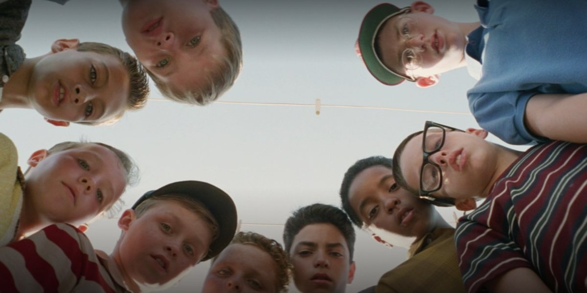 The gang looking down in The Sandlot