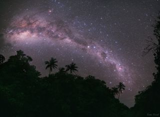 Milky Way galaxy skyscape over Mangaia