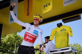 ALBI FRANCE JULY 15 Start Giulio Ciccone of Italy and Team TrekSegafredo White Young Jersey Yellow Jersey Centenary SainteCcile dAlbi Cathedral Detail view during the 106th Tour de France 2019 Stage 10 a 2175km stage from SaintFlour to Albi TDF TDF2019 LeTour on July 15 2019 in Albi France Photo by Justin SetterfieldGetty Images