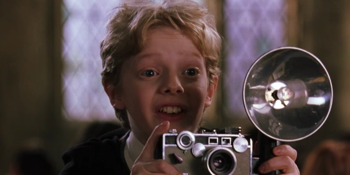 Colin Creevey with his camera in Harry Potter and the Chamber of Secrets